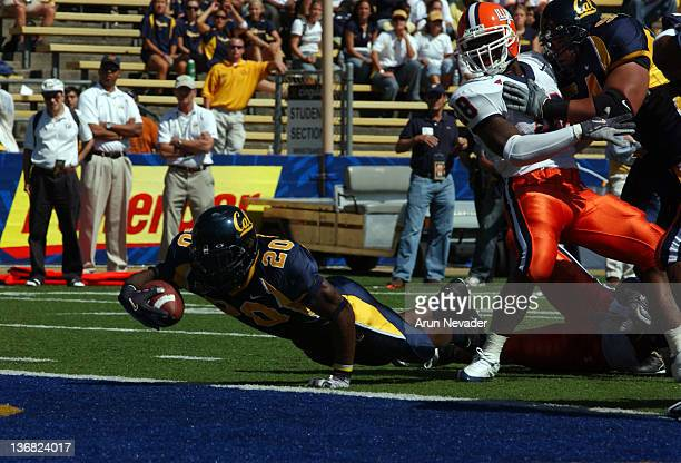 Cal back Justin Forsett scores for a touchdown as California defeated the University of Illinois by a score of 35 to 20 at Memorial Stadium,...