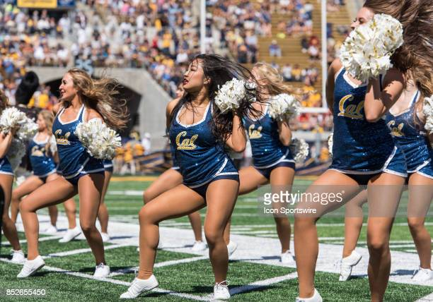 Cal Bears cheerleaders performing a sideline routine during the regular season game between the USC Trojans verses the California Golden Bears on...