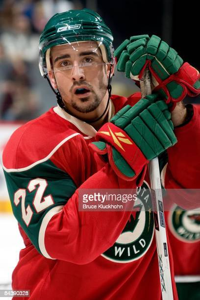 Cal Clutterbuck of the Minnesota Wild waits for play to resume during a stoppage against the Anaheim Ducks during the game at the Xcel Energy Center...