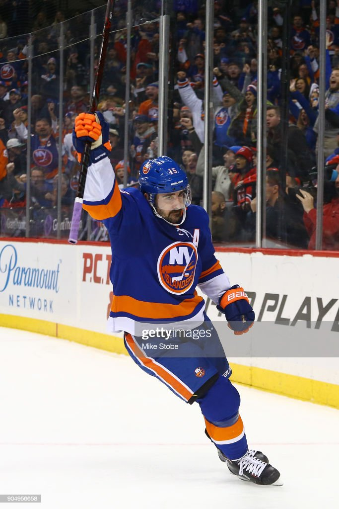 sports shoes ce82a fe60c Cal Clutterbuck of the New York Islanders celebrates his ...