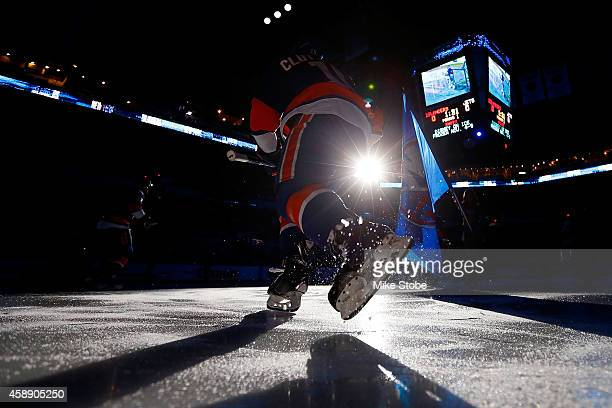 Cal Clutterbuck of the New York Islanders takes the ice prior to the game against the Winnipeg Jets at Nassau Veterans Memorial Coliseum on October...