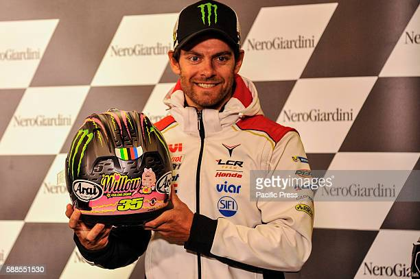 Cal Crutchlow during press conference at Austrian motogp with helmet to celebrates the birth of her first daughter Willow
