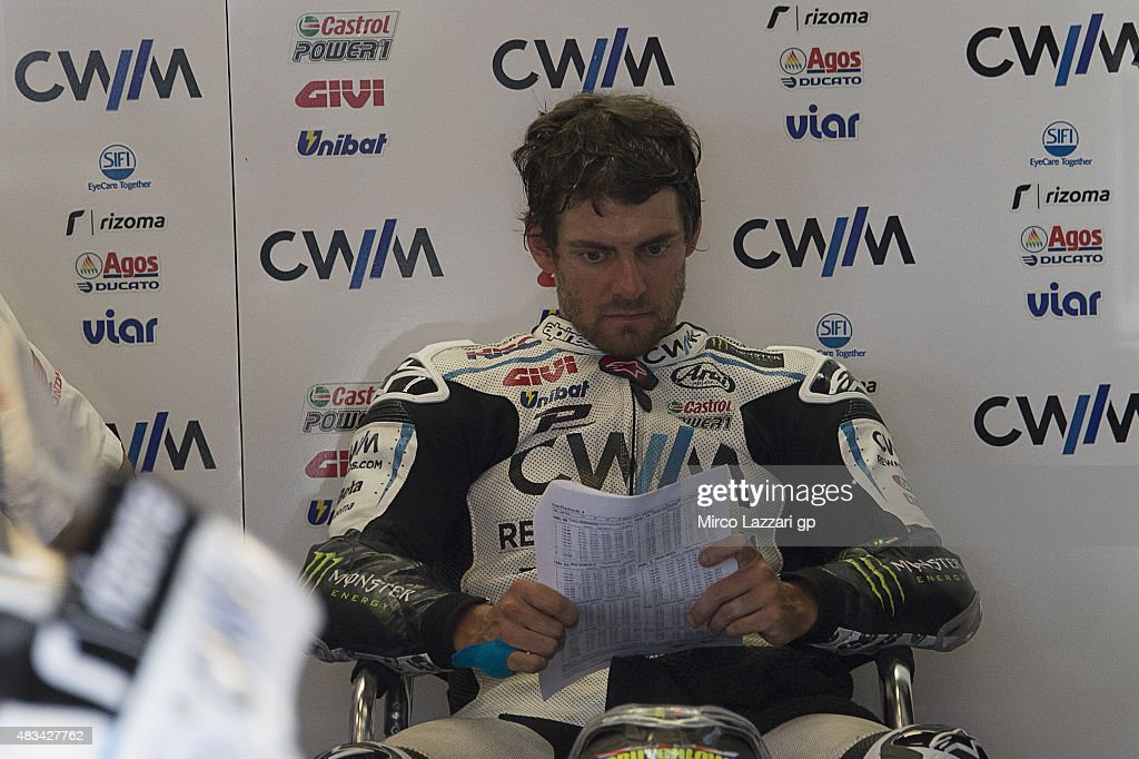 Cal Crutchlow of Great Britain and CWM LCR Honda looks on in box during the MotoGp Red Bull U.S. Indianapolis Grand Prix - Qualifying at Indianapolis Motor Speedway on August 8, 2015 in Indianapolis, Indiana.