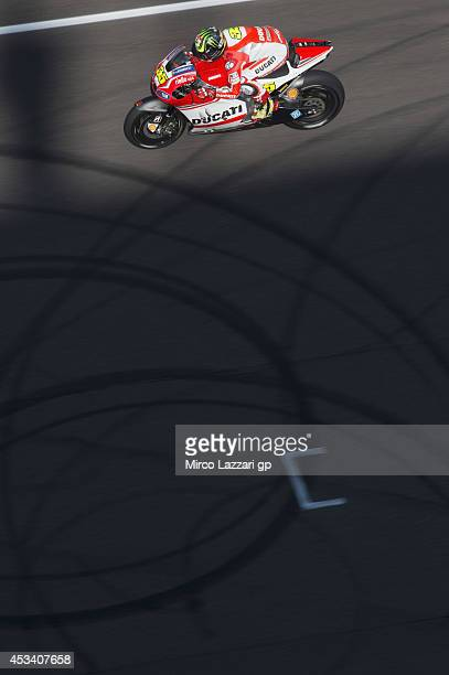 Cal Crutchlow of Great Britain and Ducati team heads down a straight during the MotoGp Red Bull US Indianapolis Grand Prix Qualifying at Indianapolis...