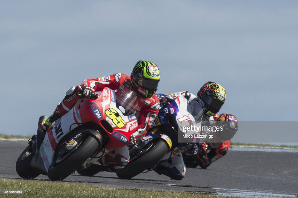 Cal Crutchlow of Great Britain and Ducati team leads the field during free practice for the 2014 MotoGP of Australia at Phillip Island Grand Prix Circuit on October 17, 2014 in Phillip Island, Australia.