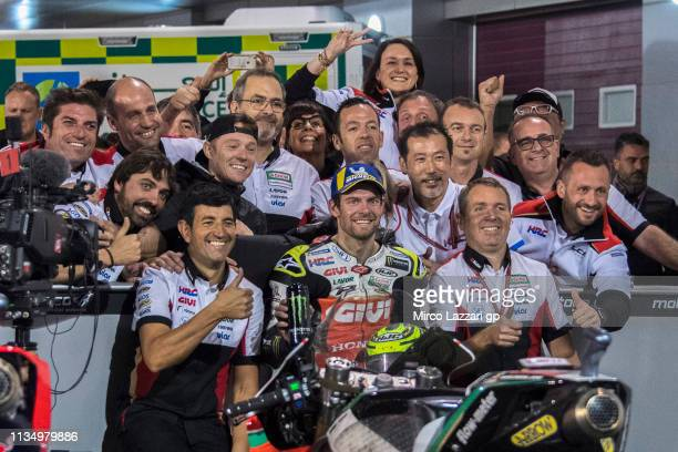 Cal Crutchlow of Great Britain and LCR Honda celebrates the third place with team at the end of the MotoGP race during the MotoGP of Qatar - Race at...