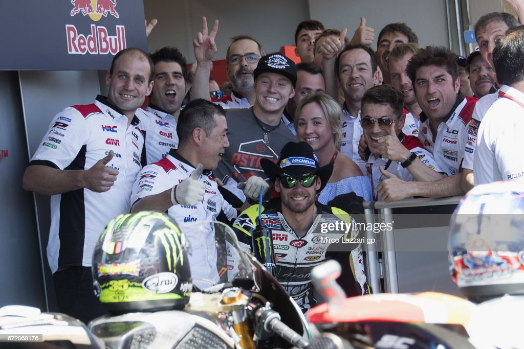 Cal Crutchlow of Great Britain and LCR Honda celebrates with team the victory of MotoGP indipendent team at the end of the MotoGP race during the MotoGp Red Bull U.S. Grand Prix of The Americas - Race at Circuit of The Americas on April 23, 2017 in Austin, Texas.