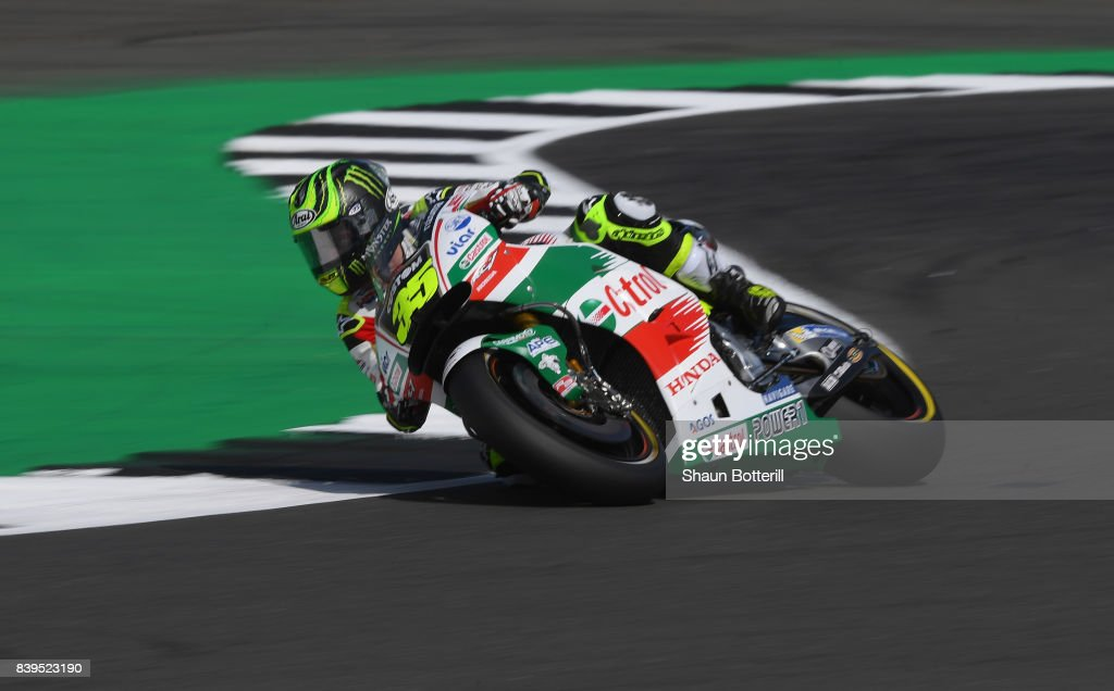 Cal Crutchlow of Great Britain and LCR Honda during Free Practice 4 at Silverstone Circuit on August 26, 2017 in Northampton, England.