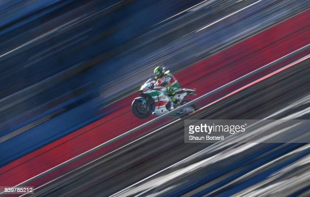 Cal Crutchlow of Great Britain and LCR Honda during Warm Up at Silverstone Circuit on August 27, 2017 in Northampton, England.