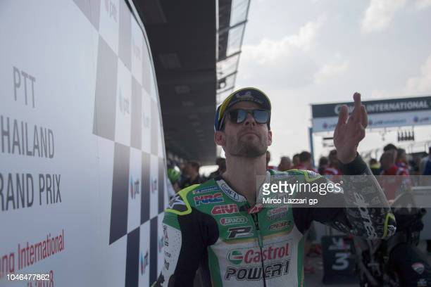 Cal Crutchlow of Great Britain and LCR Honda greets the fans and celebrates the MotoGP independent team pole position during the MotoGP Of Thailand...