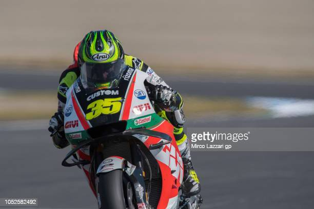Cal Crutchlow of Great Britain and LCR Honda heads down a straight during the MotoGP of Japan Qualifying at Twin Ring Motegi on October 20 2018 in...