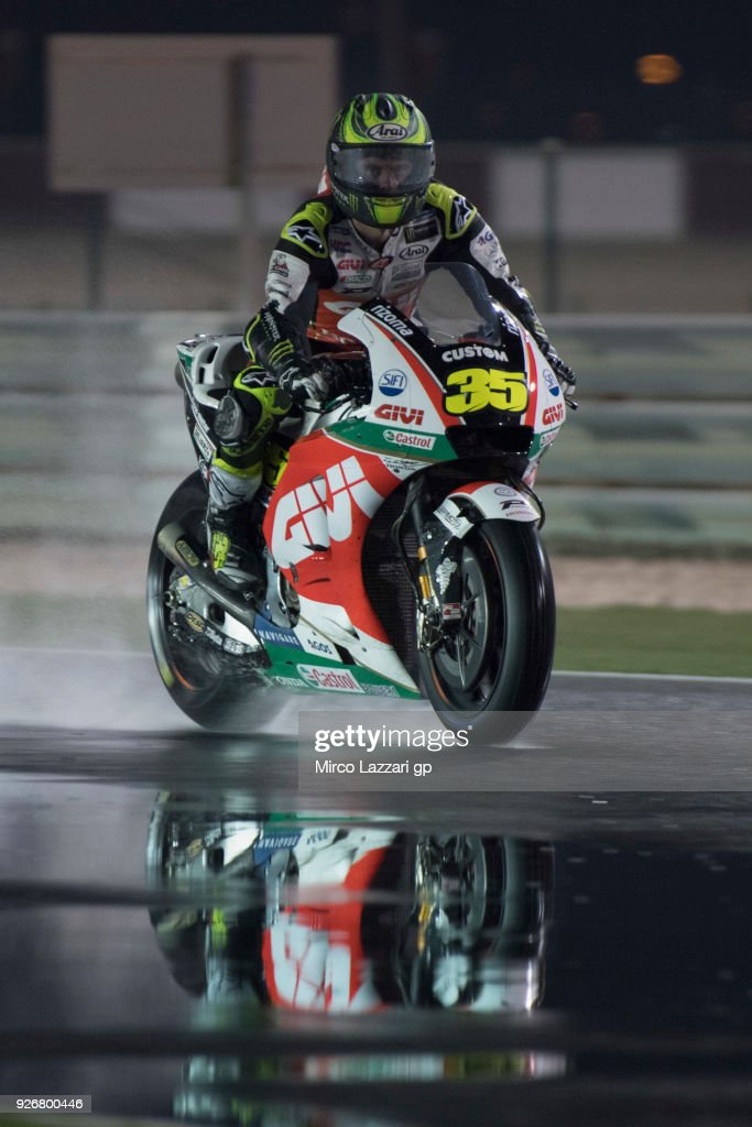 Cal Crutchlow of Great Britain and LCR Honda heads down a straight and test the wet track during the Moto GP Testing - Qatar at Losail Circuit on March 3, 2018 in Doha, Qatar.