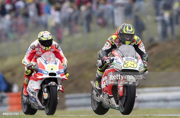 Cal Crutchlow of Great Britain and LCR Honda leads the field during the MotoGP race during the MotoGp of Czech Republic Race at Brno Circuit on...