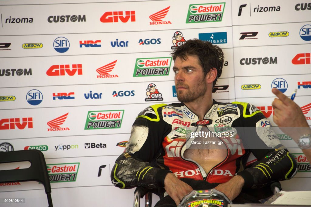 Cal Crutchlow of Great Britain and LCR Honda looks on in box during the MotoGP Tests In Thailand on February 18, 2018 in Buri Ram, Thailand.