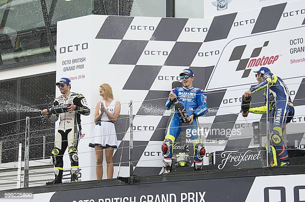 Cal Crutchlow of Great Britain and LCR Honda Maverick Vinales of Spain and Team Suzuki ECSTAR and Valentino Rossi of Italy and Movistar Yamaha MotoGP...