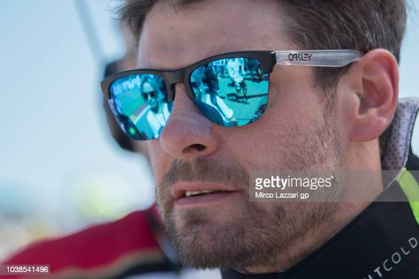 Cal Crutchlow of Great Britain and LCR Honda prepares to start on the grid during the MotoGP race during the MotoGP of Aragon Race at Motorland...