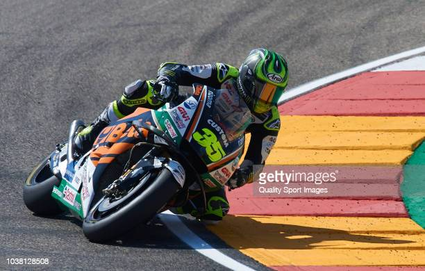 Cal Crutchlow of Great Britain and LCR Honda rides during the MotoGP of Aragon Qualifying at Motorland Aragon Circuit on September 22 2018 in Alcaniz...