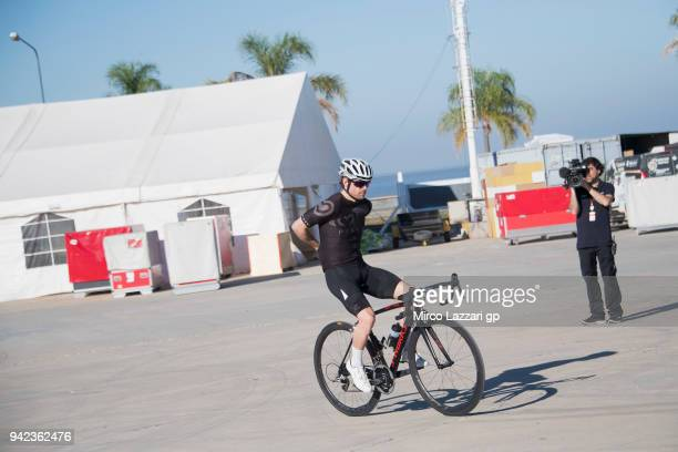 Cal Crutchlow of Great Britain and LCR Honda rides the bicyple in paddock during the MotoGp of Argentina Previews on April 5 2018 in Rio Hondo...