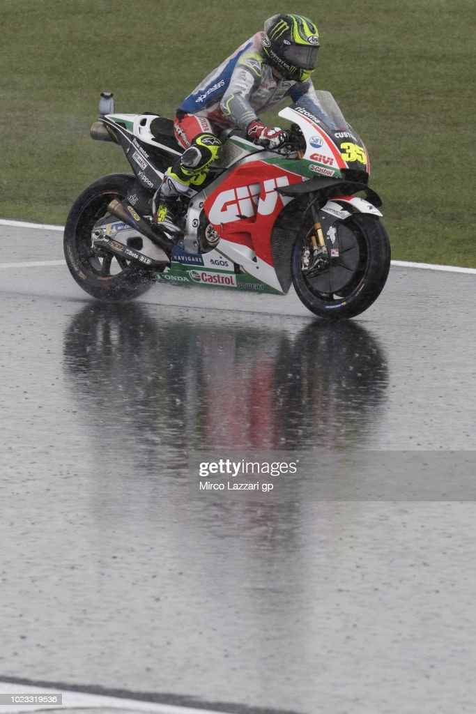 Cal Crutchlow of Great Britain and LCR Honda rounds the bend during the qualfying practice during the MotoGp Of Great Britain - Qualifying at Silverstone Circuit on August 25, 2018 in Northampton, England.