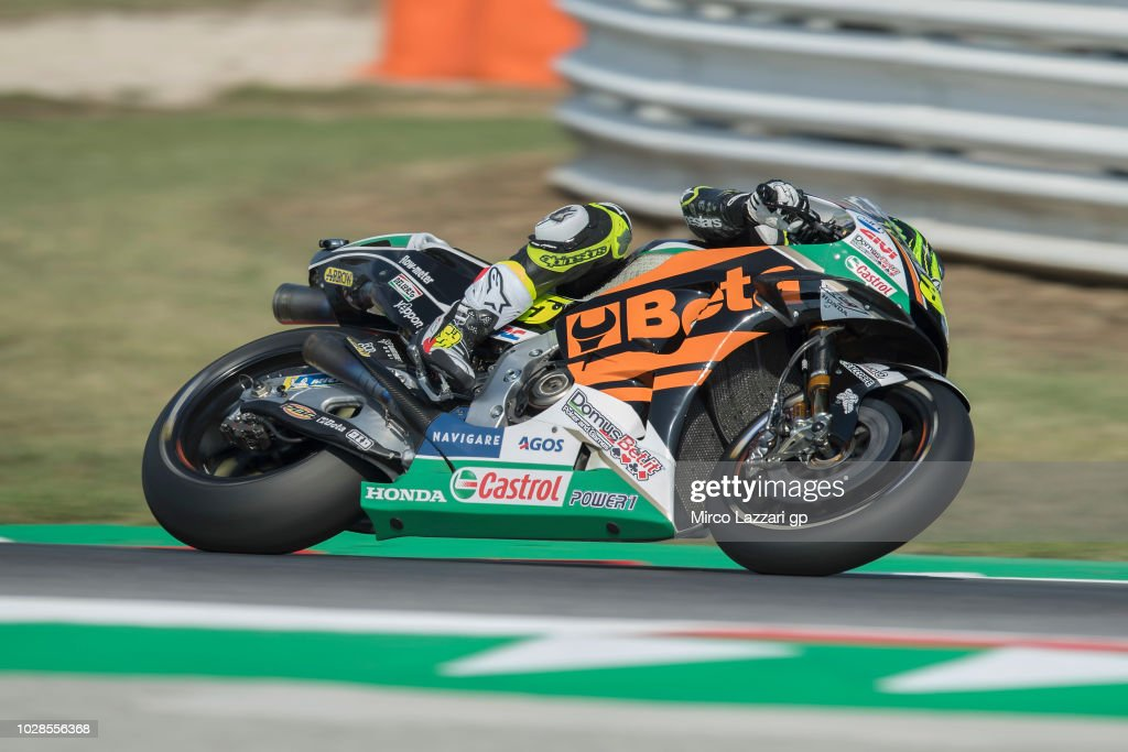 Cal Crutchlow of Great Britain and LCR Honda rounds the bend during the MotoGP of San Marino - Free Practice at Misano World Circuit on September 7, 2018 in Misano Adriatico, Italy.