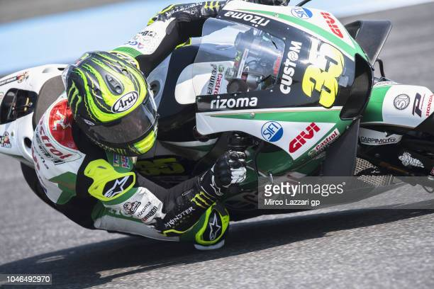 Cal Crutchlow of Great Britain and LCR Honda rounds the bend during the qualifying practice during the MotoGP Of Thailand Qualifying on October 6...