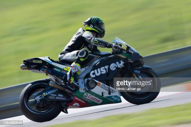 Cal Crutchlow of Great Britain and LCR Honda rounds the bend during the MotoGP Of Czech Republic - Qualifying Practice at Brno Circuit on August 08,...