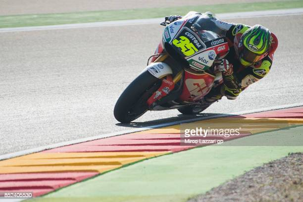 Cal Crutchlow of Great Britain and LCR Honda rounds the bend during the qualifying practice during the MotoGP of Aragon Qualifying at Motorland...