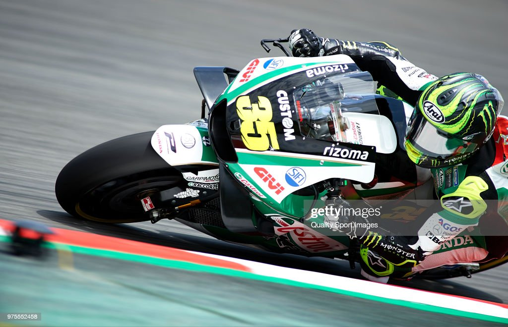 Cal Crutchlow of Great Britain and LCR Honda rounds the bend during free practice for the MotoGP of Catalunya at Circuit de Catalunya on June 15, 2018 in Montmelo, Spain.