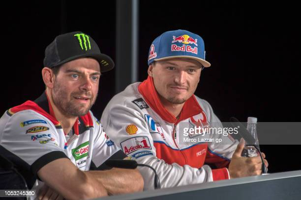Cal Crutchlow of Great Britain and LCR Honda speaks and Jack Miller of Australia and Alma Pramac Racing smiles during the press conference during the...