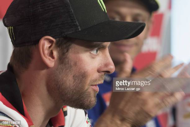Cal Crutchlow of Great Britain and LCR Honda speaks during the prees conference at the end of the Qualifying practice during the MotoGP Netherlands...