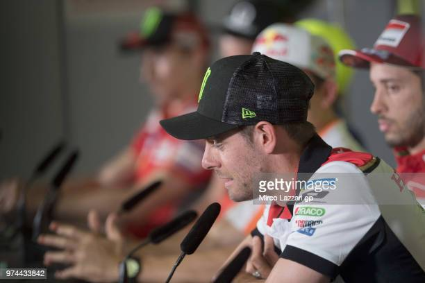 Cal Crutchlow of Great Britain and LCR Honda speaks during the press conference preevent during the MotoGp of Catalunya Previews at Circuit de...