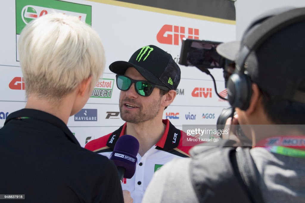 Cal Crutchlow of Great Britain and LCR Honda speaks with journalists in paddock during the MotoGp Red Bull U.S. Grand Prix of The Americas - Previews at Circuit of The Americas on April 19, 2018 in Austin, Texas.