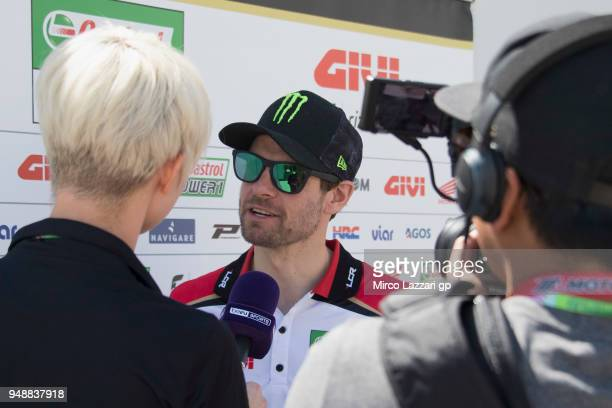 Cal Crutchlow of Great Britain and LCR Honda speaks with journalists in paddock during the MotoGp Red Bull US Grand Prix of The Americas Previews at...