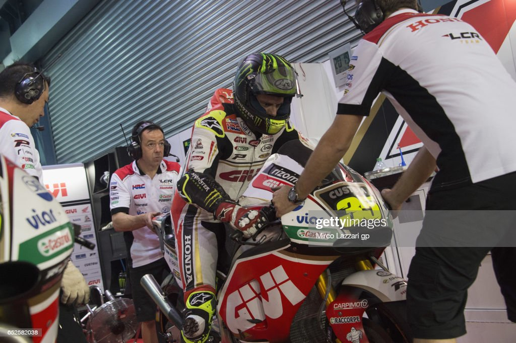 Cal Crutchlow of Great Britain and LCR Honda starts from box during the MotoGP Tests In Losail at Losail Circuit on March 12, 2017 in Doha, Qatar.