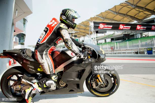 Cal Crutchlow of Great Britain and LCR Honda starts from the pit during the MotoGP test in Sepang at Sepang Circuit on January 30 2018 in Kuala...