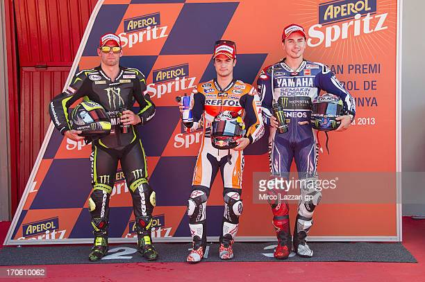 Cal Crutchlow of Great Britain and Monster Yamaha Tech 3 Dani Pedrosa of Spain and Repsol Honda Team and Jorge Lorenzo of Spain and Yamaha Factory...