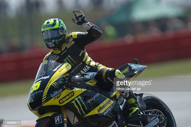 Cal Crutchlow of Great Britain and Monster Yamaha Tech 3 greets the fans at the end of the qualifying practice of MotoGP of Great Britain at...