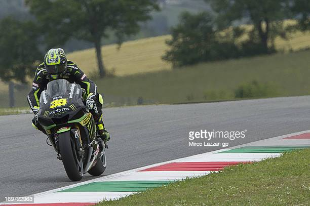 Cal Crutchlow of Great Britain and Monster Yamaha Tech 3 heads down a straight during the MotoGp of Italy Free Practice at Mugello Circuit on May 31...