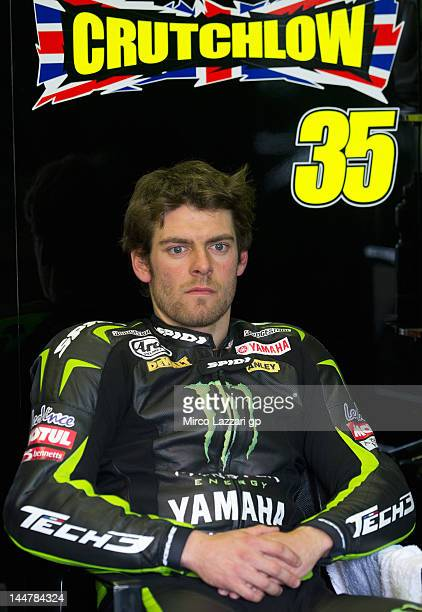 Cal Crutchlow of Great Britain and Monster Yamaha Tech 3 looks on in box during the qualifying practice of the MotoGp Of France on May 19 2012 in Le...