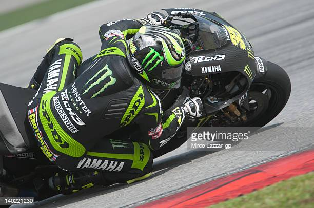 Cal Crutchlow of Great Britain and Monster Yamaha Tech 3 rounds the bend during the third day of MotoGP testing at Sepang Circuit on March 1 2012 in...