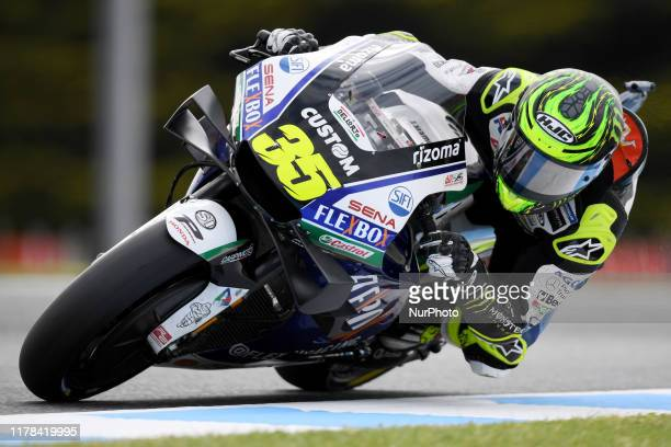Cal Crutchlow of Great Britain rides the LCR Honda bike during the warm up ahead of the Australian MotoGP at the Phillip Island Grand Prix Circuit on...