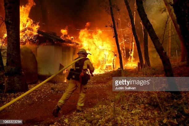Cal Fire firefighter pulls a hose towards a burning home as the Camp Fire moves through the area on November 9, 2018 in Magalia, California. Fueled...