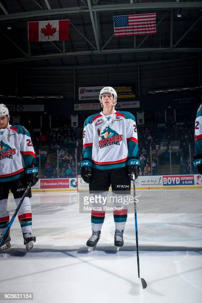 Cal Foote #25 of the Kelowna Rockets stands on the blue line against the Spokane Chiefs at Prospera Place on January 10 2018 in Kelowna Canada This...