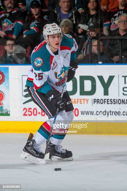 Cal Foote of the Kelowna Rockets looks for the pass against the TriCity Americans on March 4 2017 at Prospera Place in Kelowna British Columbia Canada