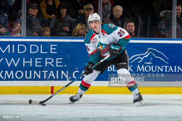 Cal Foote of the Kelowna Rockets looks to pass the puck against the Spokane Chiefs at Prospera Place on March 3 2018 in Kelowna Canada