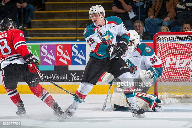 Cal Foote of the Kelowna Rockets passes the puck against the Portland Winterhawks on January 21 2017 at Prospera Place in Kelowna British Columbia...