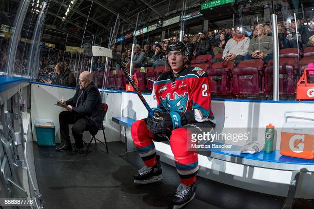 Cal Foote of the Kelowna Rockets sits in the penalty box against the Prince George Cougars at Prospera Place on November 29 2017 in Kelowna Canada