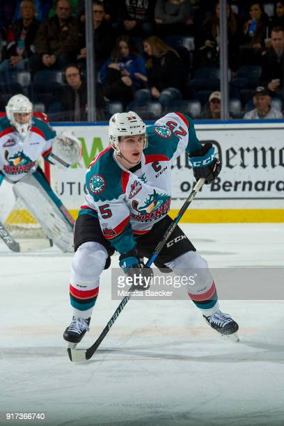 Cal Foote of the Kelowna Rockets skates against the Vancouver Giants at Prospera Place on February 7 2018 in Kelowna Canada