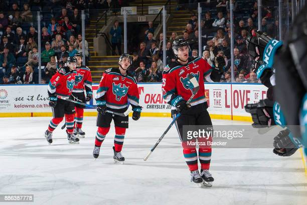 Cal Foote of the Kelowna Rockets skates to the bench to fist bump teammates after scoring a goal against the Prince George Cougars at Prospera Place...