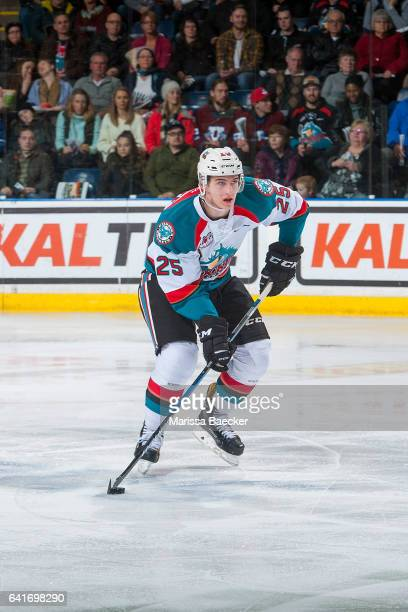 Cal Foote of the Kelowna Rockets skates with the puck against the Vancouver Giants on February 10 2017 at Prospera Place in Kelowna British Columbia...